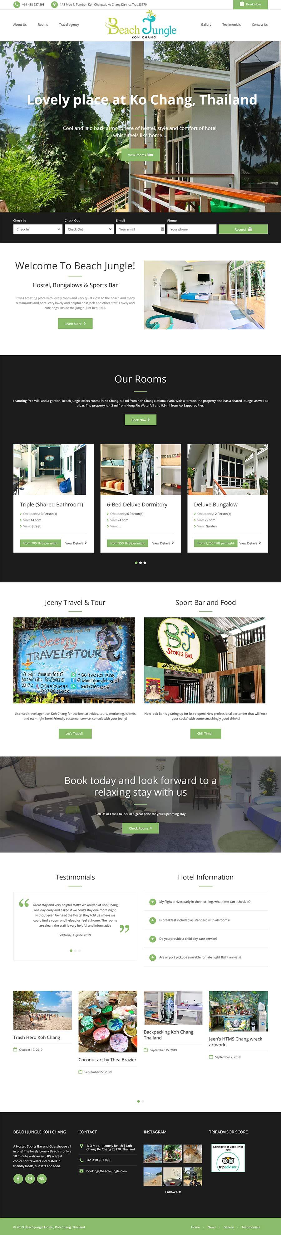 Презентационный сайт для отеля, хостела